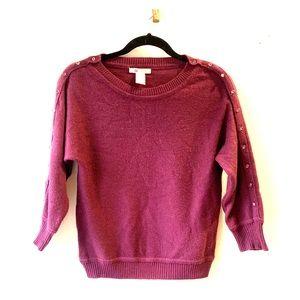 Purple Tulle 3/4 sleeve sweater w/ cute buttons